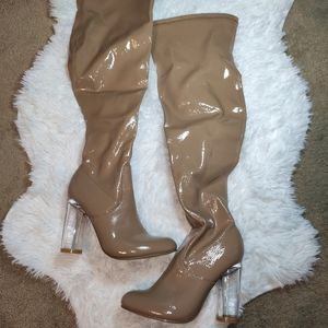 over the knee boots nude pvc color nude clear heel